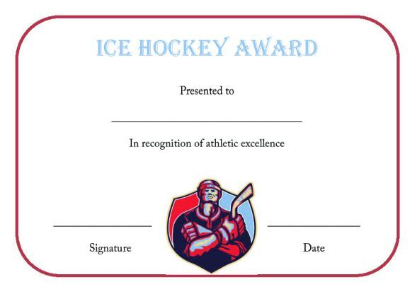 Ice Hockey Certificate Template  Hockey Certificate Templates
