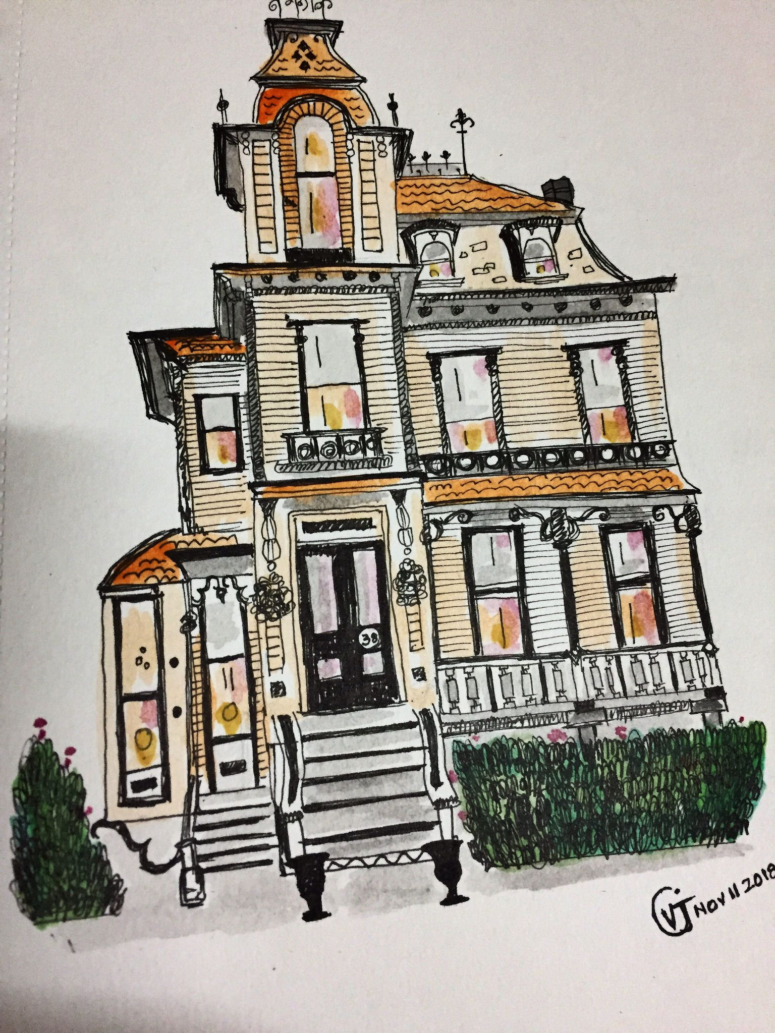 French exterior | My Sketches | Drawings, French exterior ...