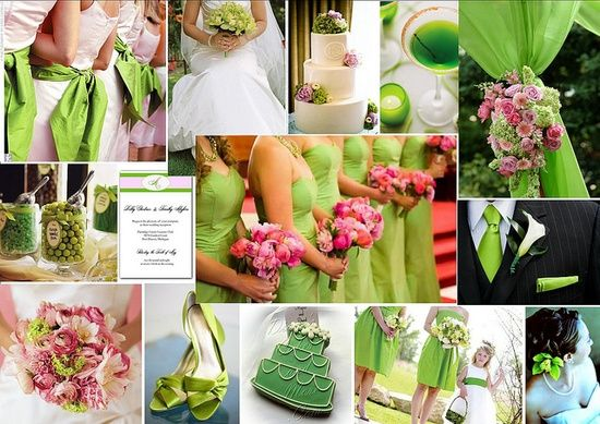 Green Wedding Colors Highlighted With Splashes Of Pink