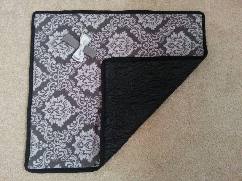 Black vinyl baby change pad.  #starfishhippo on Etsy