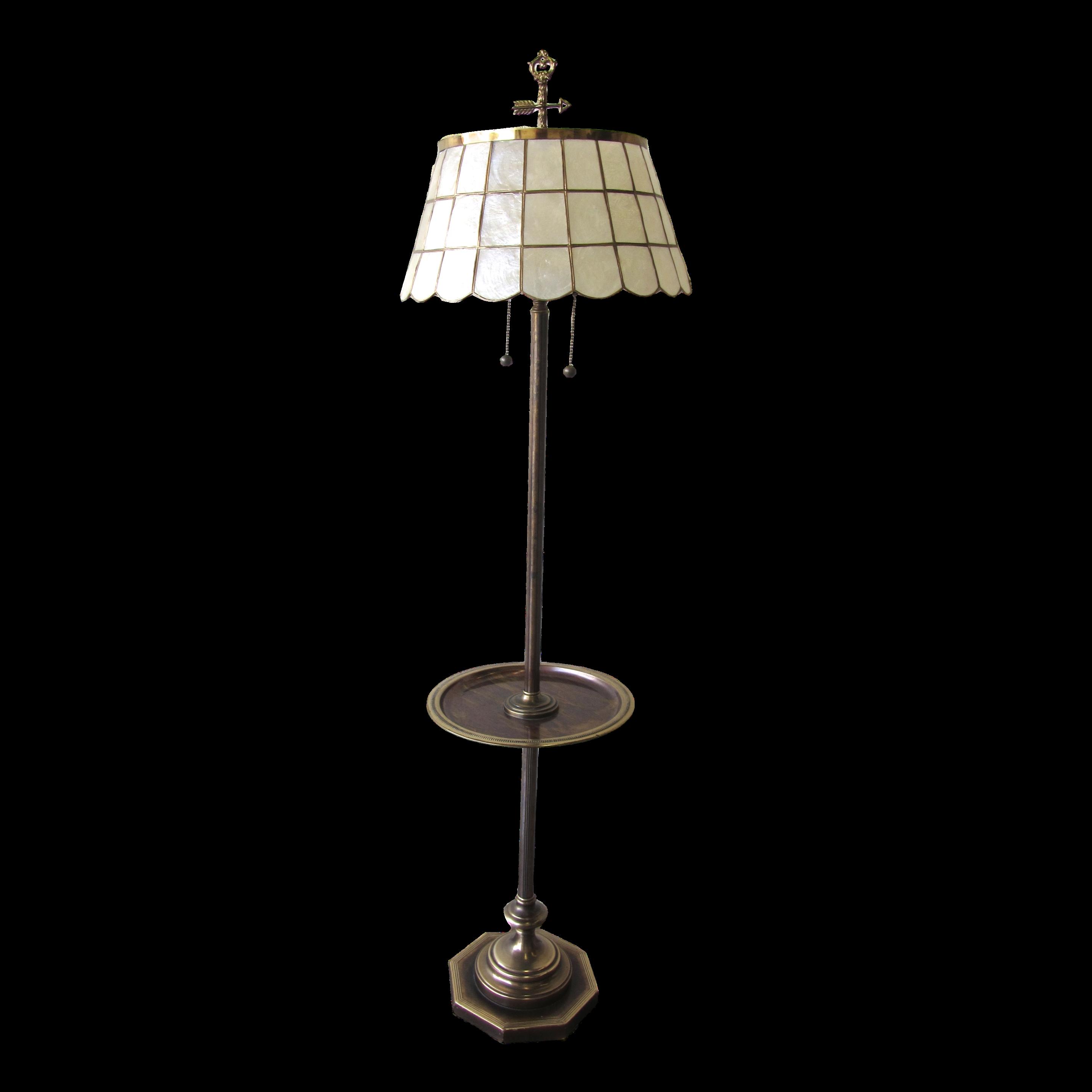 Vintage Brass Floor Lamp With Capiz Shell Shade Brass Floor Lamp Make A Lamp Lamp