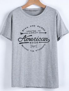 Camiseta suelta letras manga corta-gris