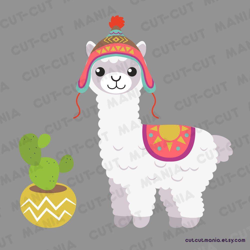 Cute Alpaca Clipart Cute Lhama Clipart Cactus Clip Art Etsy Cute Alpaca Alpaca Drawing Llama Drawing