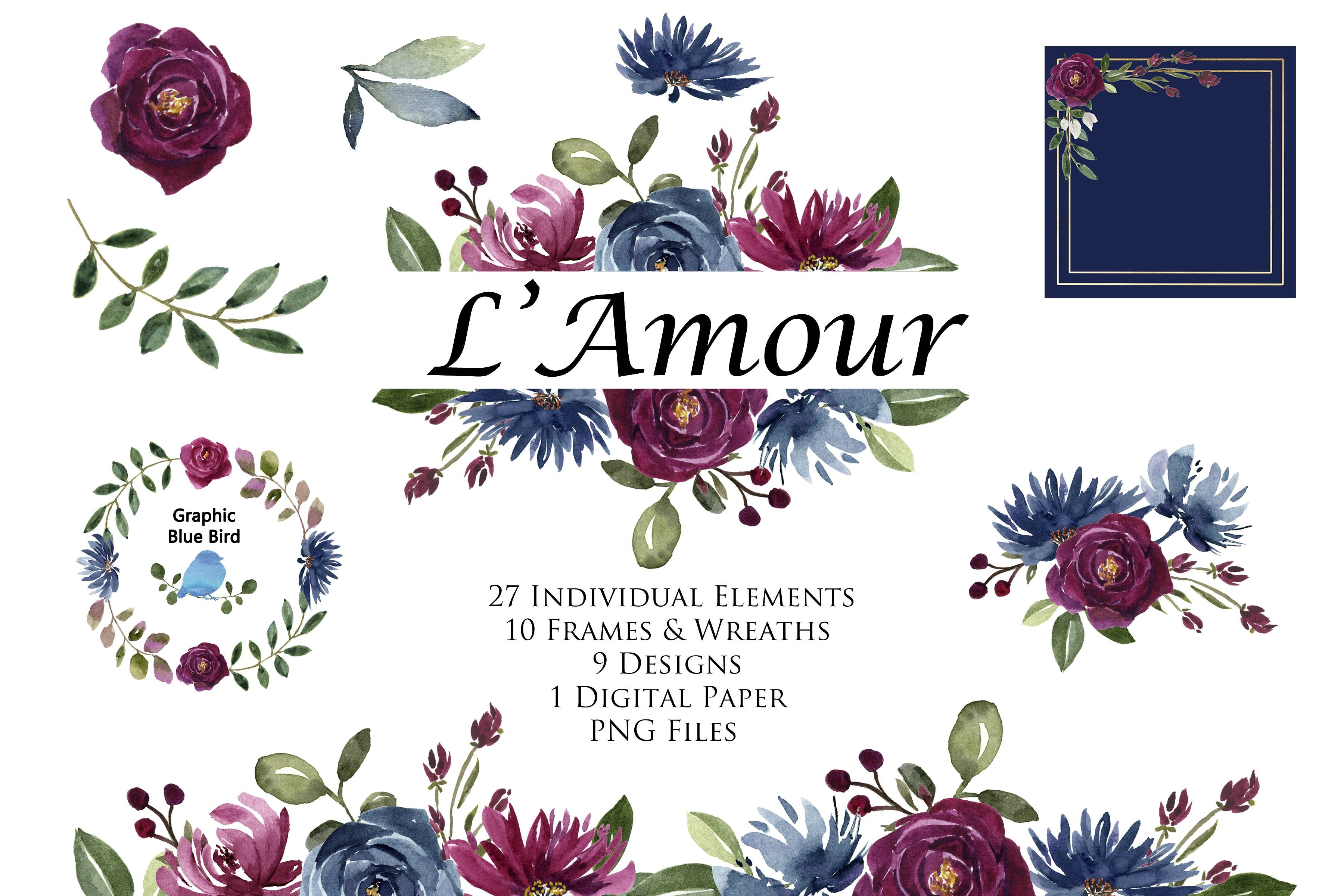 Burgundy and Navy Floral Clip Art Ad , AFFILIATE,