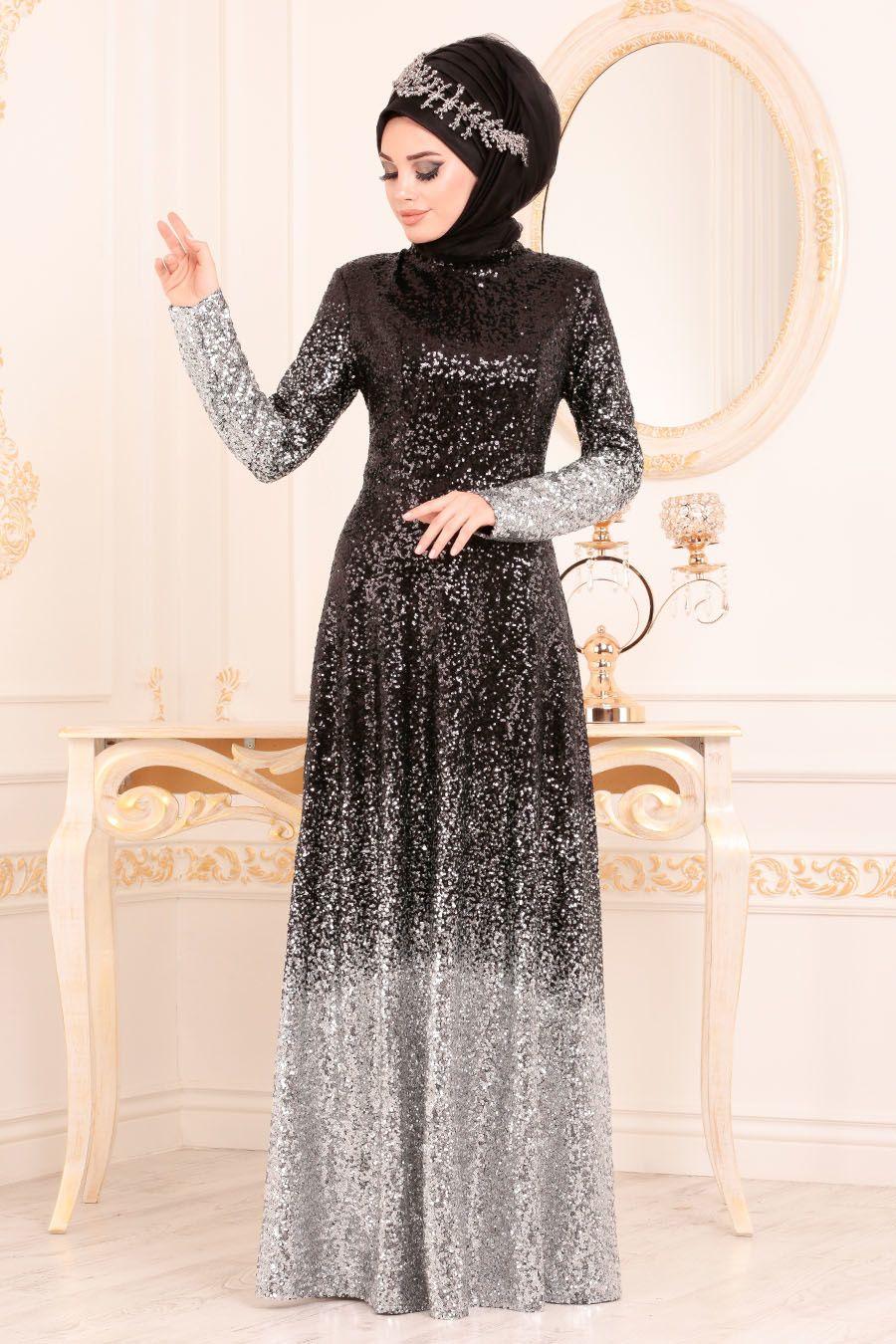 Tesetturlu Abiye Elbise Pul Payetli Gri Tesettur Abiye Elbise 8576gr Tesetturisland Com The Dress Elbise Aksamustu Giysileri