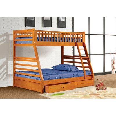 Wildon Home Boise Twin Over Full Bunk Bed With Drawers Finish: Oak