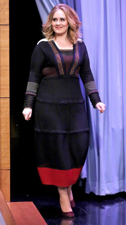 Adele in a black-and-red Valentino midi dress