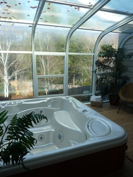 Indoor Hot Tub In An Atrium Setting Indoor Hot Tub Hot Tub Room House Property