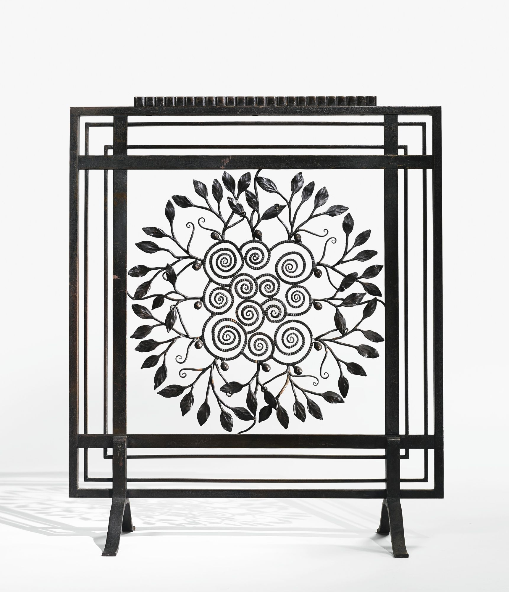 edgar brandt patinated wrought iron firescreen circa 1925