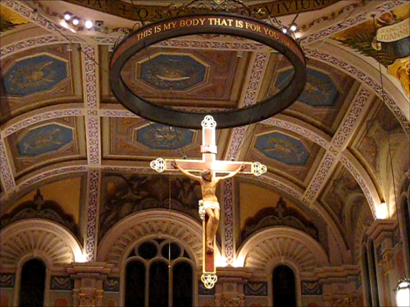 Crucifix suspended over the altar at the Cathedral of the Blessed Sacrament, Sacramento California.