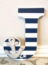 Nautical Nursery Wall Letters Nautical Room Decor Nautical Baby Shower Custom Name Boy Nursery Decor Kids Wall Artany color and theme