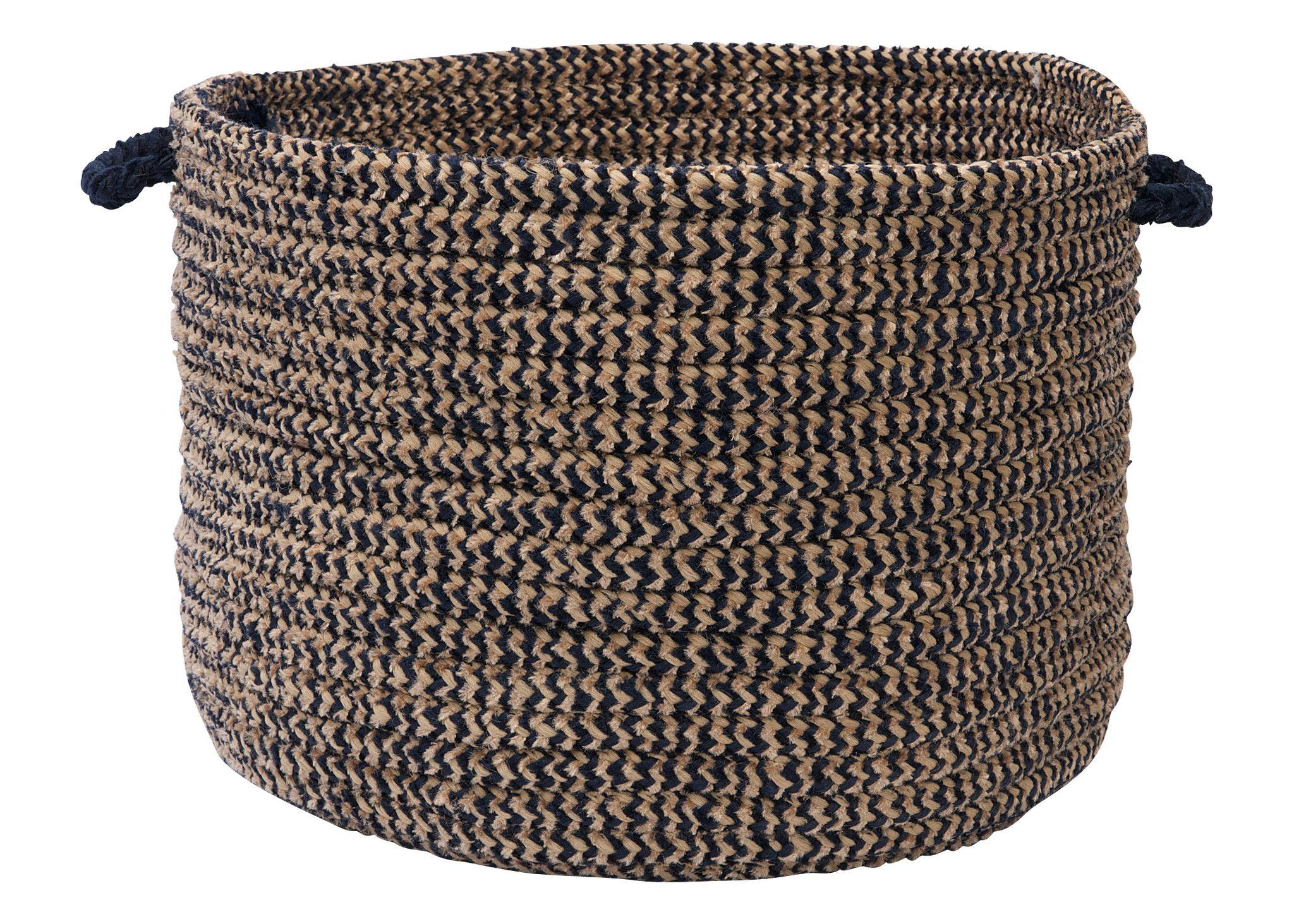 Softex Check Indoor Outdoor Round Braided Utility Storage Basket, Navy Blue  U0026 Tan
