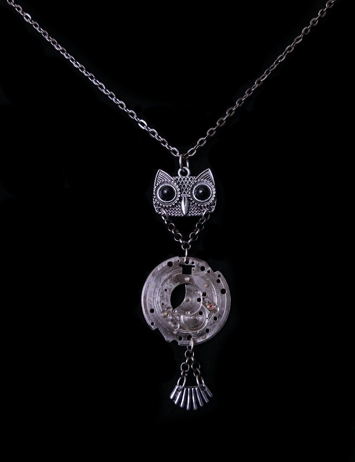 Small Steampunk Owl Necklace - Owl and Crow Seattle Signature Design - Unique Upcycled Timepieces - by owlandcrowseattle on Etsy