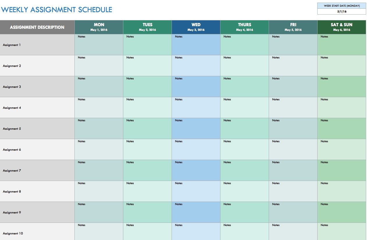 Free Weekly Assignment Template Editable In Excell Great