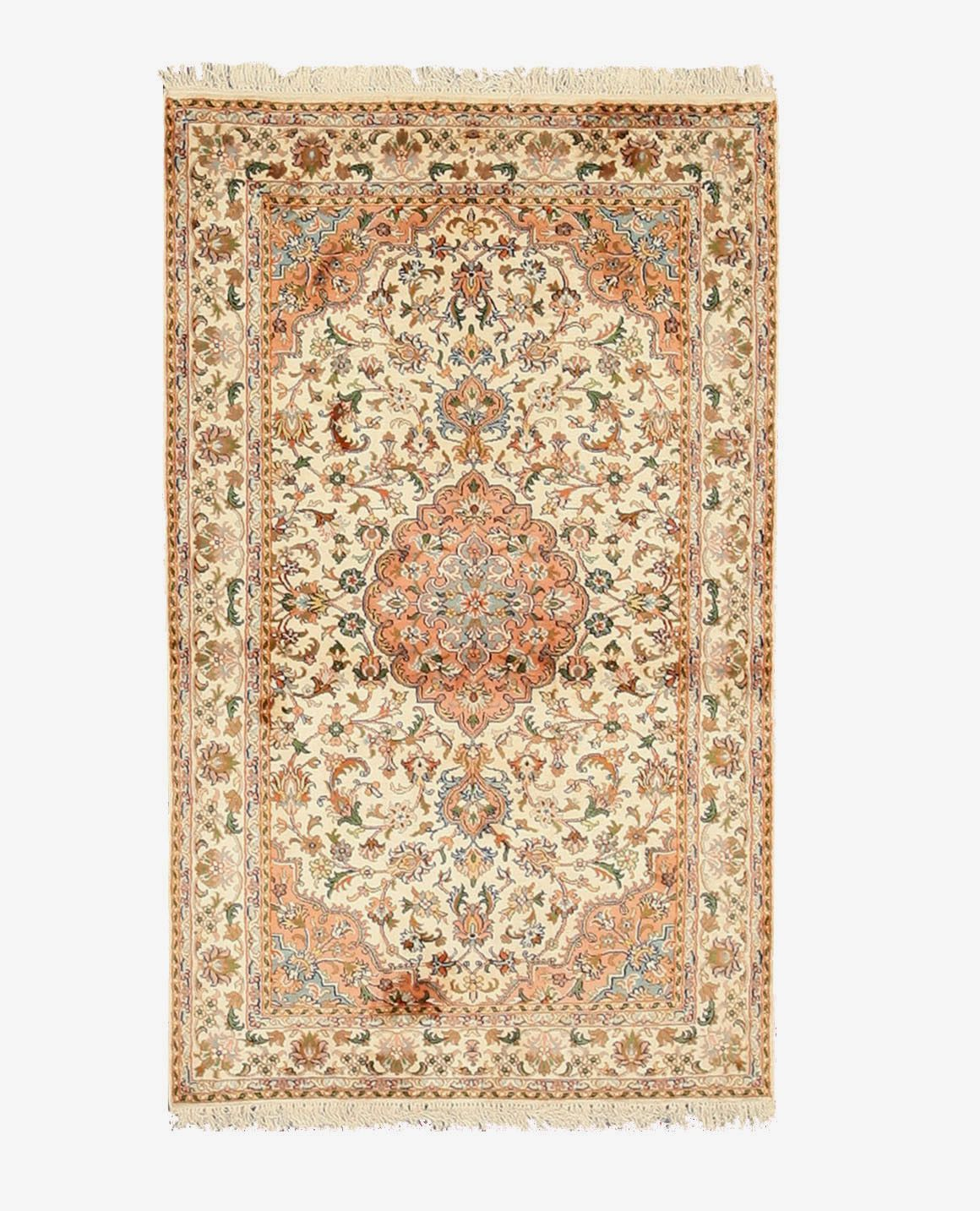 Eorc X35966 Ivory Hand Knotted Silk Kashmir Rug 3 1 X 5 1 Rugs Colorful Rugs Indian Carpet