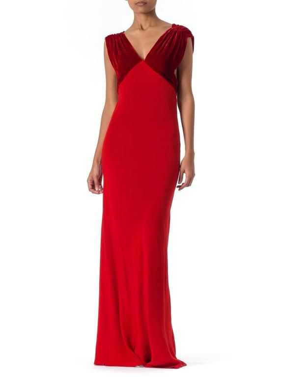 1930s Backless Red Bias Cut Gown | Pinterest | 1930s, Gowns and Scarlet