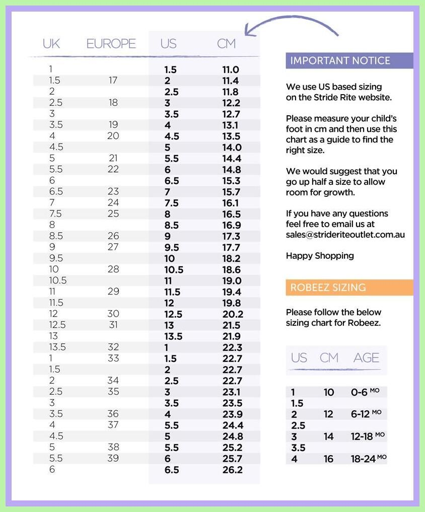 72 Reference Of Toddler Shoe Size Chart Printable Stride Rite In 2020 Toddler Shoe Size Chart Stride Rite Shoe Size Chart