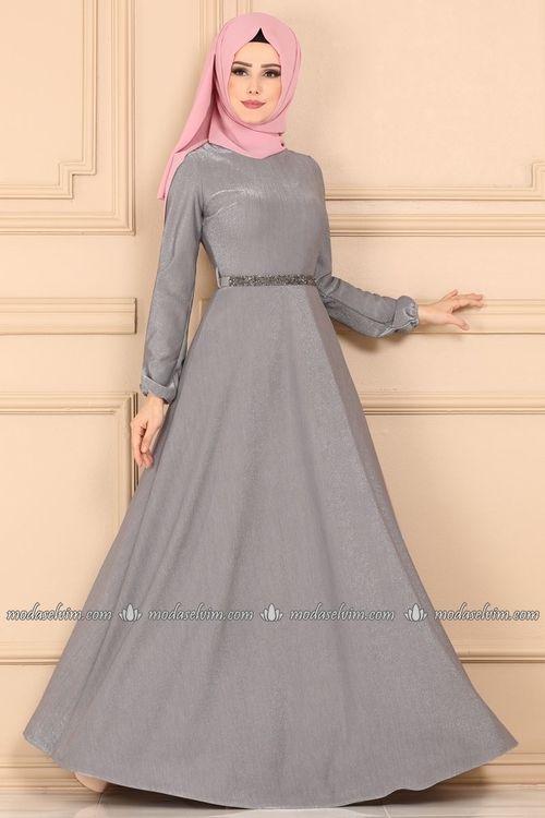 Modaselvim Elbise Tas Kemerli Elbise 544 L263 Gri Indian Dresses Fashion Muslimah Fashion