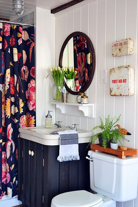 A Guest Bathroom Renovation With Bold Floral Anthropologie Shower Curtain White Planked Walls Dark Painted Vanity Vintage Sink Copper Mirror