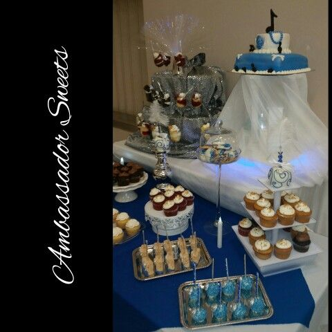Royal Blue And Silver Dessert Table Dessert Table Desserts Blue And Silver