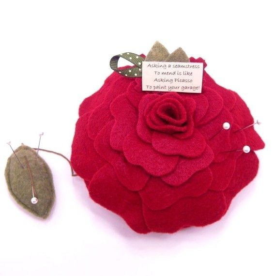 4 Red Emery Pincushions Keep Your Needles Clean /& Sharp