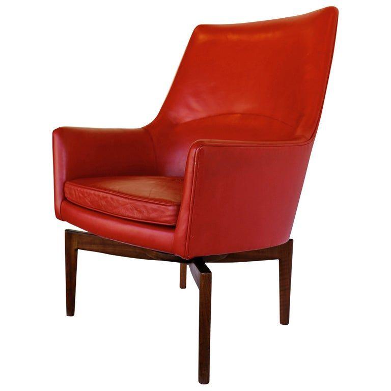 High Back Leather Swivel Lounge Chair By Jens Risom Jens
