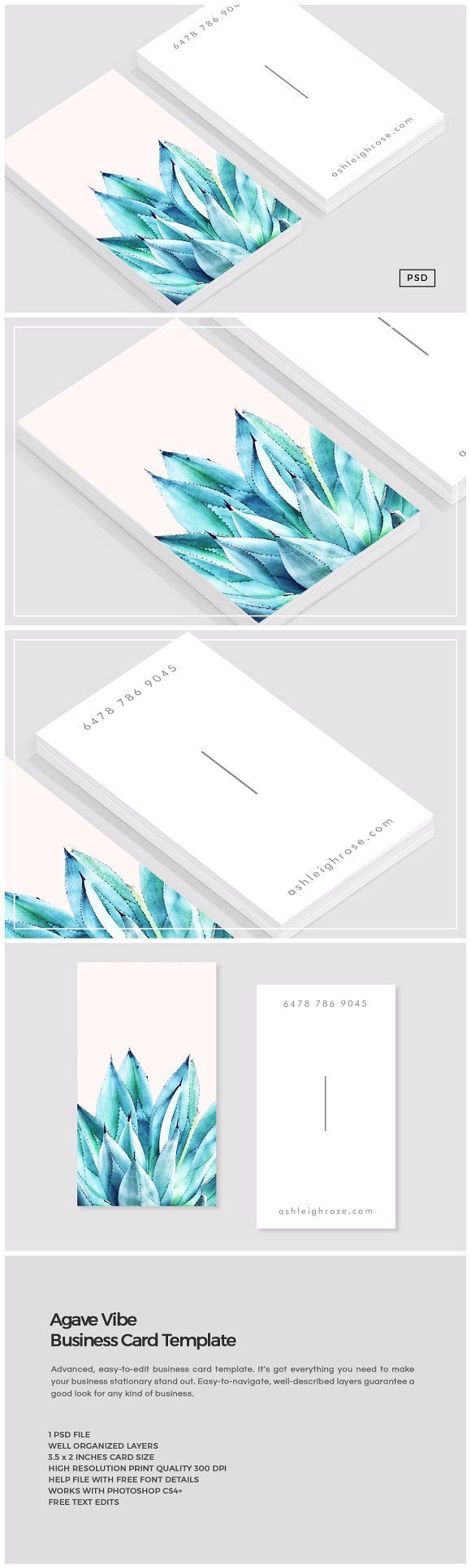 Agave Vibe Business Card Template Card Templates Business Cards