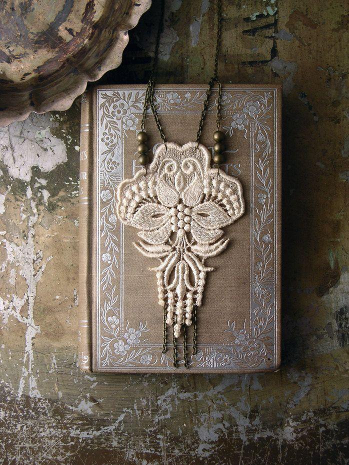 lace necklace lotus long necklace fringe necklace