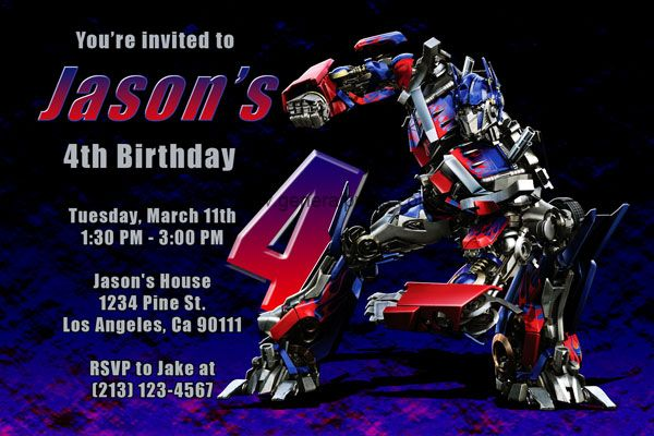 Transformers Invitations With Megatron And Optimus Prime Transformer Birthday Birthday Invitations Transformers Birthday Parties