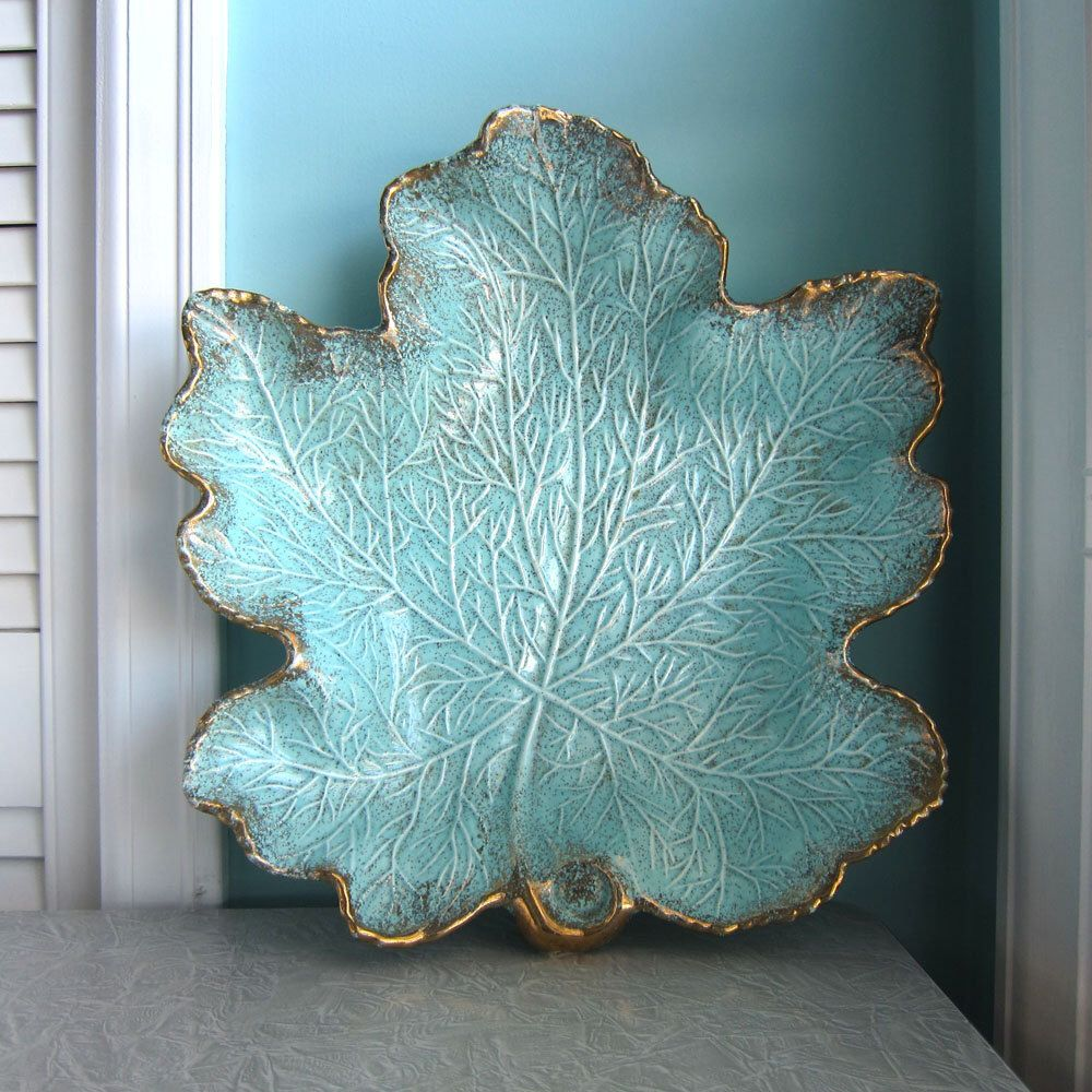 Decorative Leaf Bowl Mid Century Leaf Bowl Aqua Leaf Bowl Turquoise Leaf Bowl Gilner