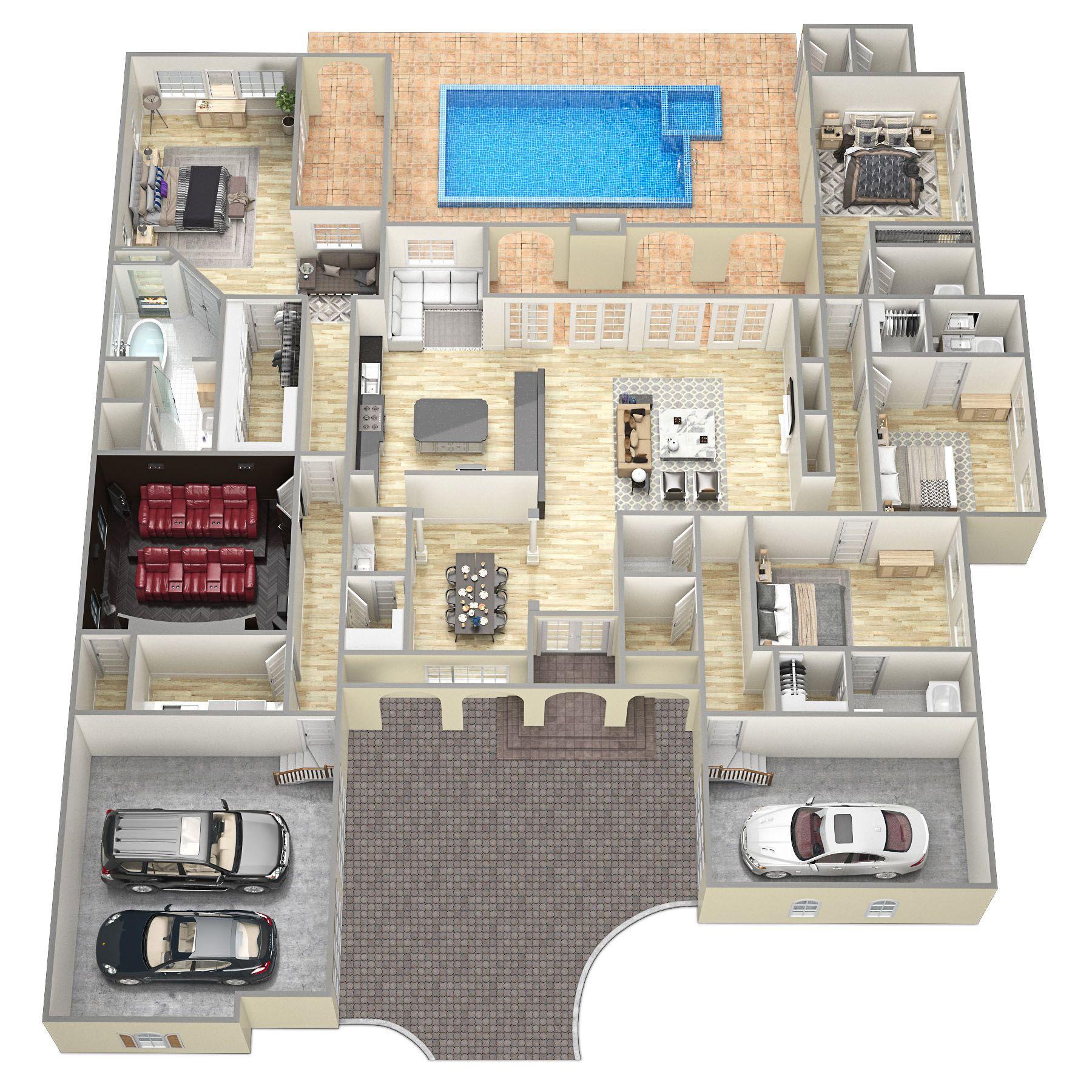 casa de vacaciones 3d piso plan de diseño toronto 3d