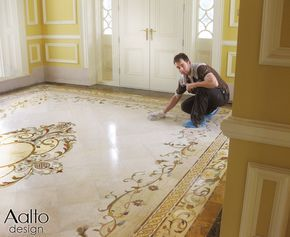 Upon Completing The Installation Of This Entryway The Installer Applies A Coat Of Marble S Classic Interior Design Living Room Marble Flooring Design Flooring