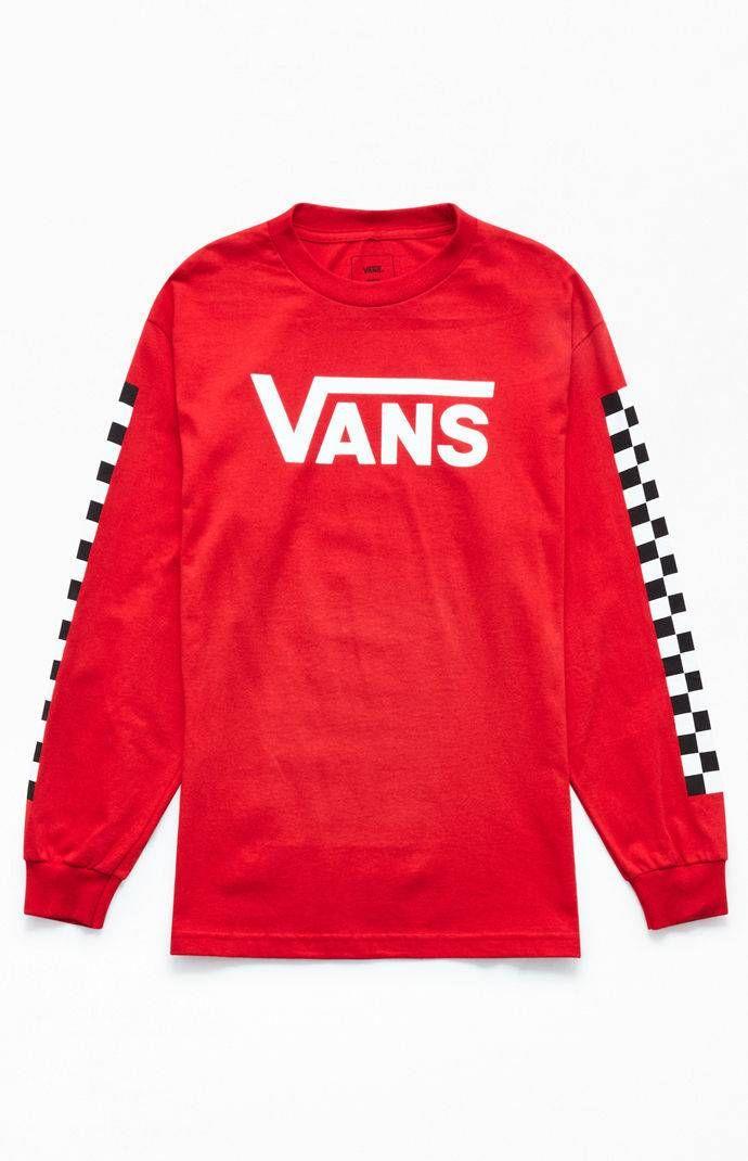 Vans Red Check Vee Long Sleeve T-Shirt