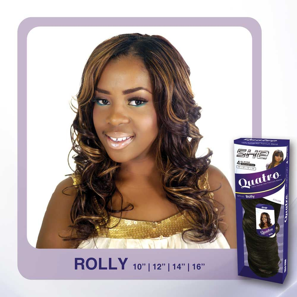 She 100 human hair blend quattro rolly weave 4pcs tha hair she 100 human hair blend quattro rolly weave 4pcs pmusecretfo Choice Image