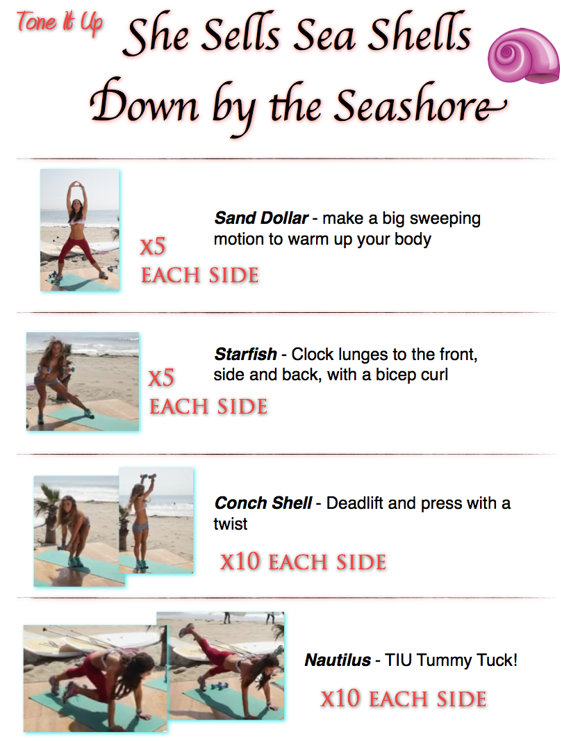 She sells sea shells down by the Seashore! Total body follow along workout video and printable routine from your trainers at Tone It Up!
