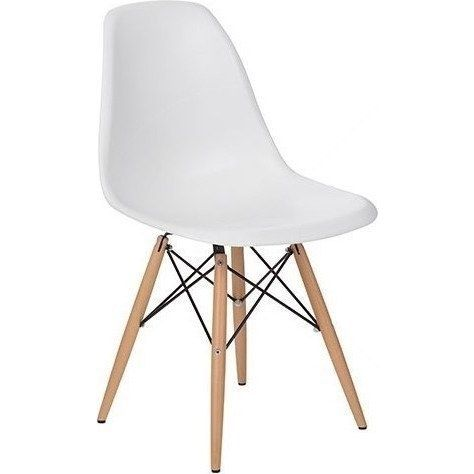 Set of 4   DSW Dining Side Chair Wooden Legs   Eames Reproduction   White    MatteReplica Eames DSW Plastic Dining Chair White 80cm   Buy Eames  . Set Of 4 Replica Eames Eiffel Dsw Dining Chair White. Home Design Ideas