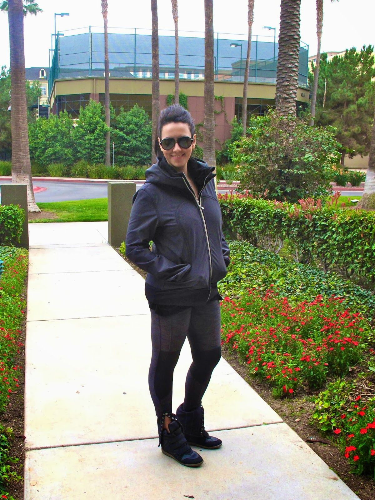 Workout outfit. Lululemon pants and jacket, Target Sneaker Wedges, H&M shirt and Giant Vintage Sunglasses.