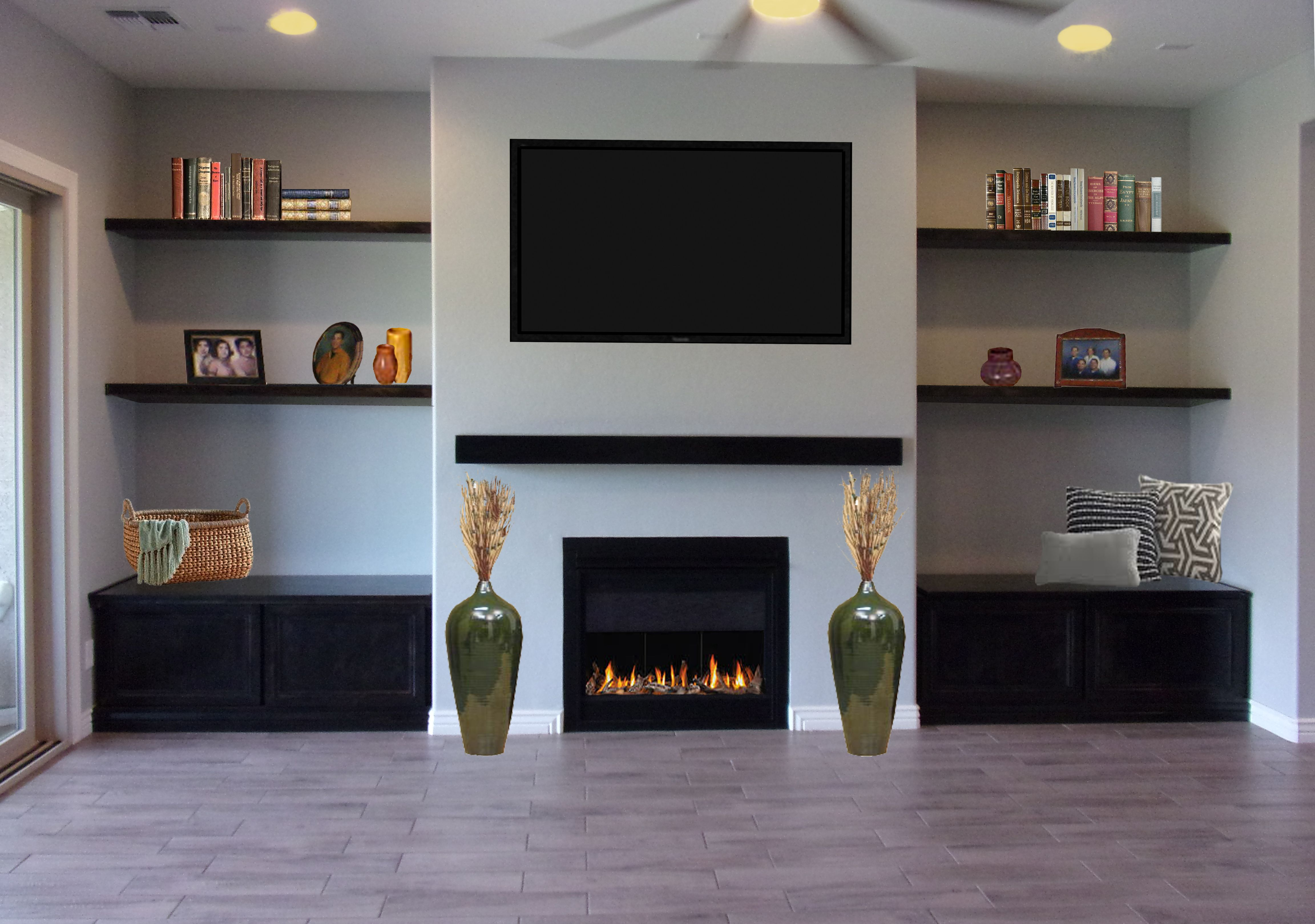 For Family Home In Gilbert Floating Shelves Around A Tv
