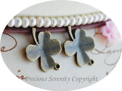 10pcs Brass Charm Pendants 4 leaves clover by PreciousSerenity, £1.99