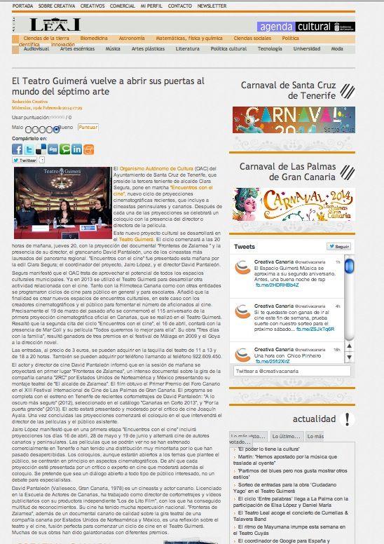 En Creativacanaria.com http://www.creativacanaria.com/index.php/artes-escenicas/7613-el-teatro-guimera-vuelve-a-abrir-sus-puertas-al-mundo-del-septimo-arte
