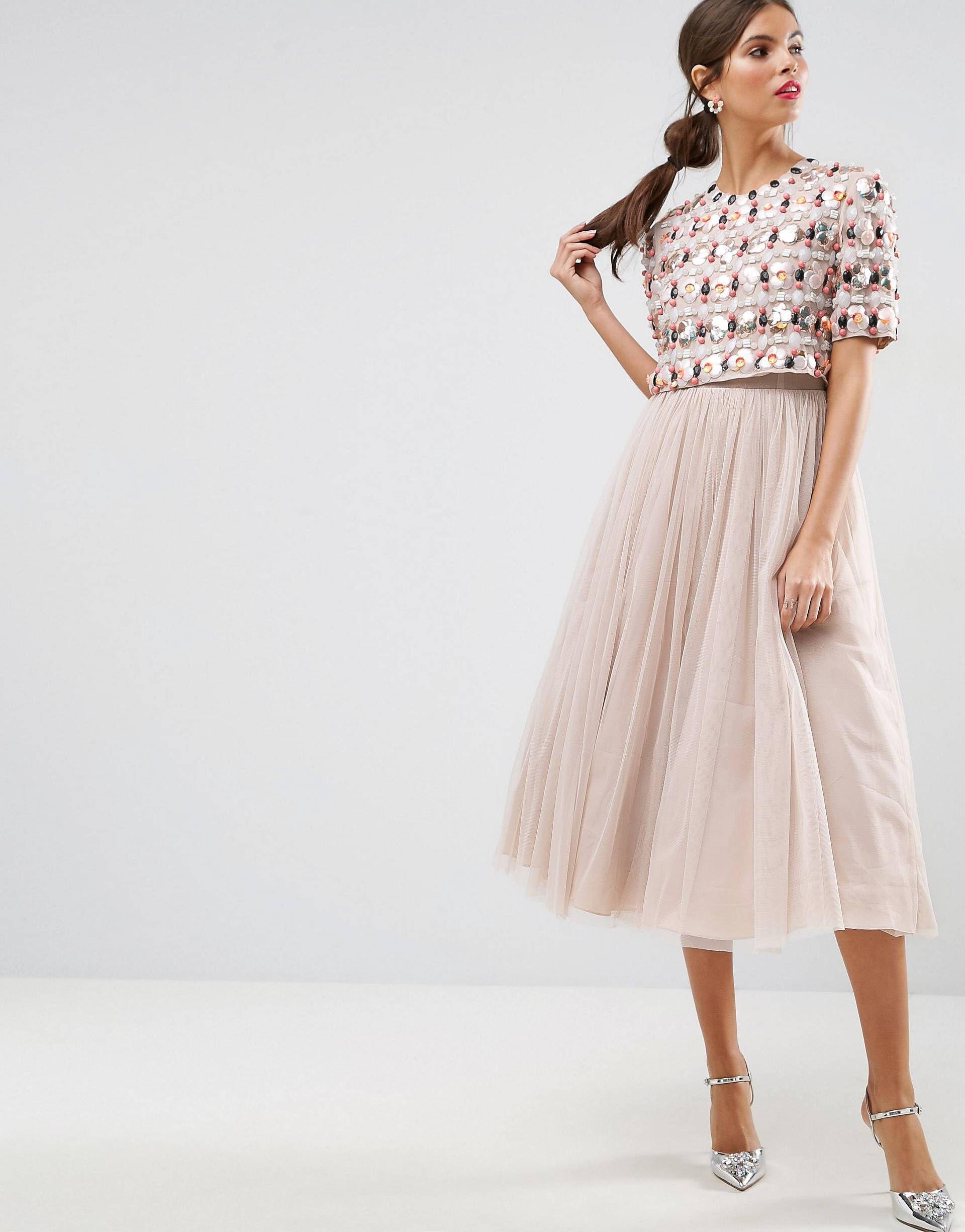 6b0d1ce09a026 Asos Embellished 3d Floral Crop Top Midi Dress