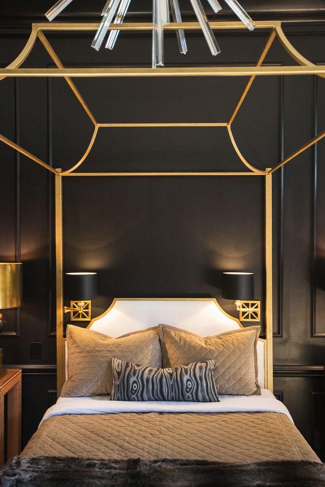 Swing Arms Set Inside Frame Gold Canopy Bed Eclectic Bedroom Jessie D Miller