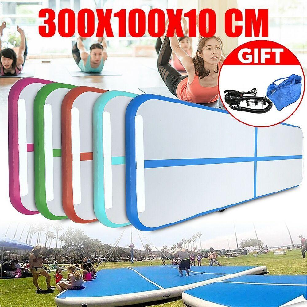 Ad Ebay Inflatable Gymnastics Mat Air Tumbling Track Floor Home Gym 10 X 3 Ft With Pump Gymnastics Mats Gym Training Gymnastics