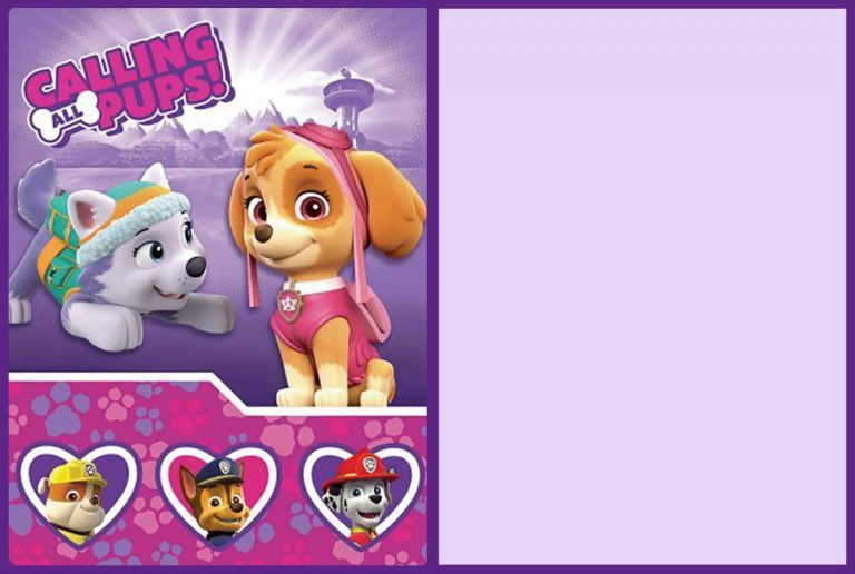 Free Printable Paw Patrol Party Invitation Card Paw Patrol Party Invitations Paw Patrol Invitations Paw Patrol Birthday Invitations