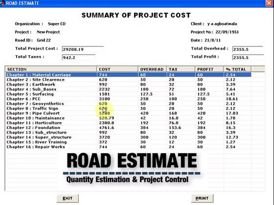 Super Civil 3D introduces a very informative online construction - contractor estimate