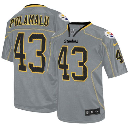 7f1fdb25132 Men s Nike Pittsburgh Steelers  43 Troy Polamalu Limited Lights Out Grey  Jersey 69.99