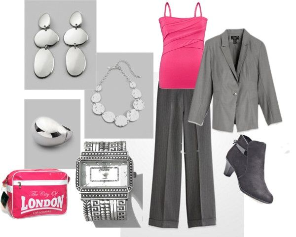 Art Hot Pink and Gray w/bold Silver Accents by intcon on Polyvore plus-size