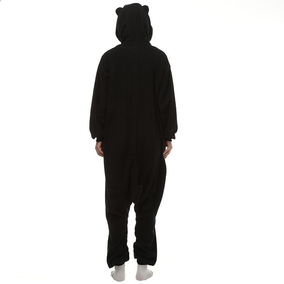 980217de Mænd Kvinder Voksne Onesize Fleece Sleepwear Cosplay Kostume Pyjamas Night  Black Cat Halloween Unisex