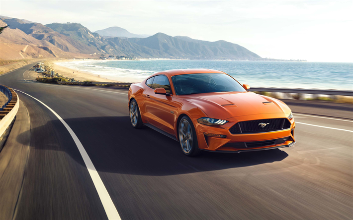 Download Wallpapers Ford Mustang  K Front View Orange Sports Coupe Sports Car Ford Besthqwallpapers Com