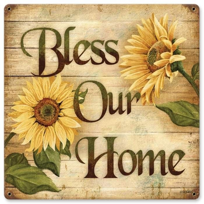 Retro Bless Home Metal Sign 18 x 18 Inches | Wall décor, Retro and ...